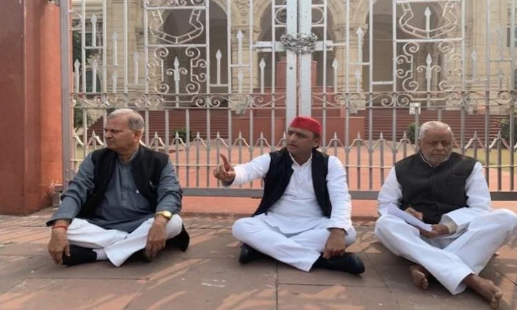 Akhilesh Yadav sat on a dharna outside the assembl