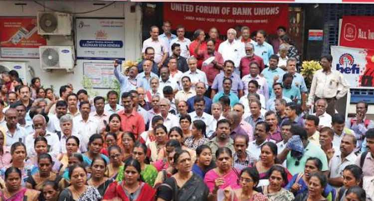 Bank unions warn government to strike against merg