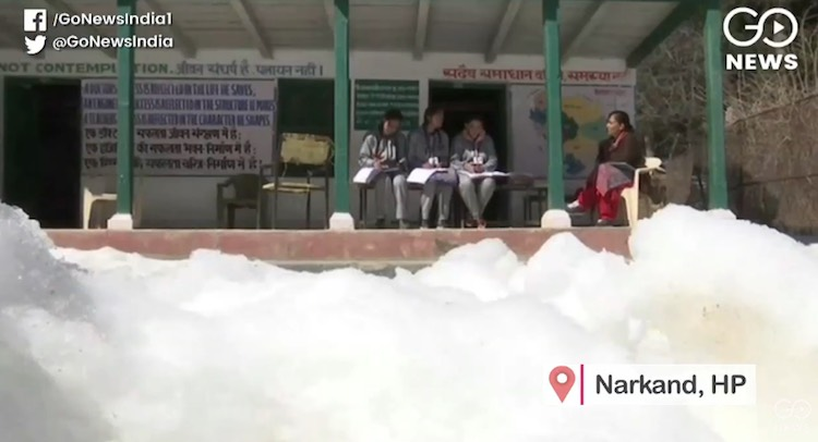 Snow made trouble for children's studies