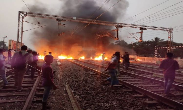 Northeast fire reaches West Bengal, blows railway